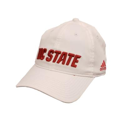 NC State Adidas Men's Sideline Climalite Adj Hat WHITE