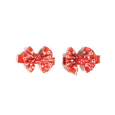 Red and White Hair Clip (Set of 2)