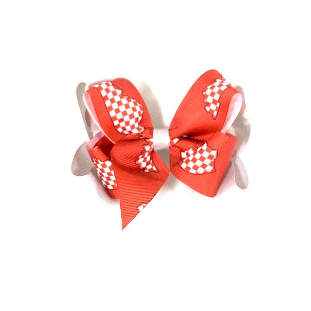 Red And White State Of Kentucky Kids Double Hair Bow