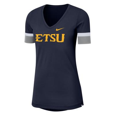 ETSU Nike Dry Top Fan V Neck Short Sleeve Tee