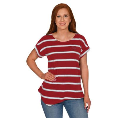 Arkansas University Girl Asymmetrical Stripe Top