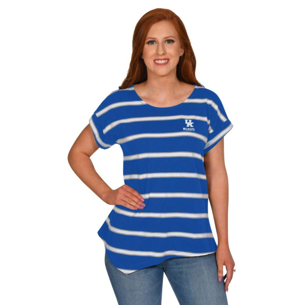 Kentucky University Girl Asymmetrical Stripe Top