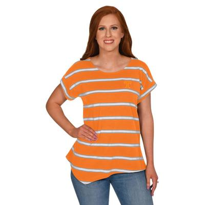 Tennessee University Girl Asymmetrical Stripe Top
