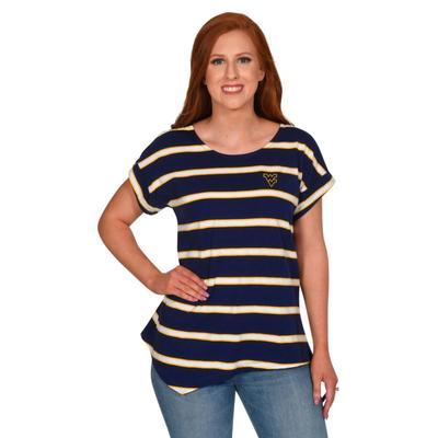 West Virginia University Girl Asymmetrical Stripe Top