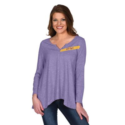LSU University Girl Cozy Henley Top