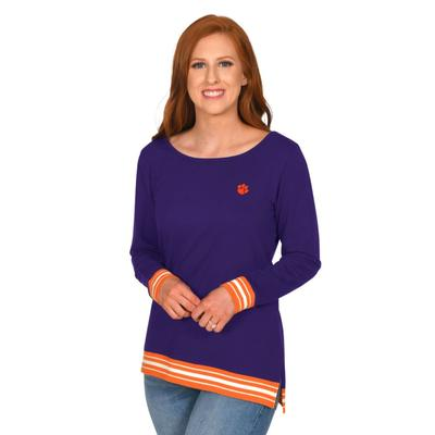 Clemson University Girl Striped Rib Pullover