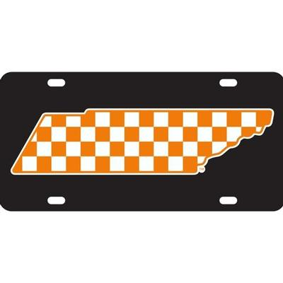 Tennessee License Plate Black Checkerboard State Outline