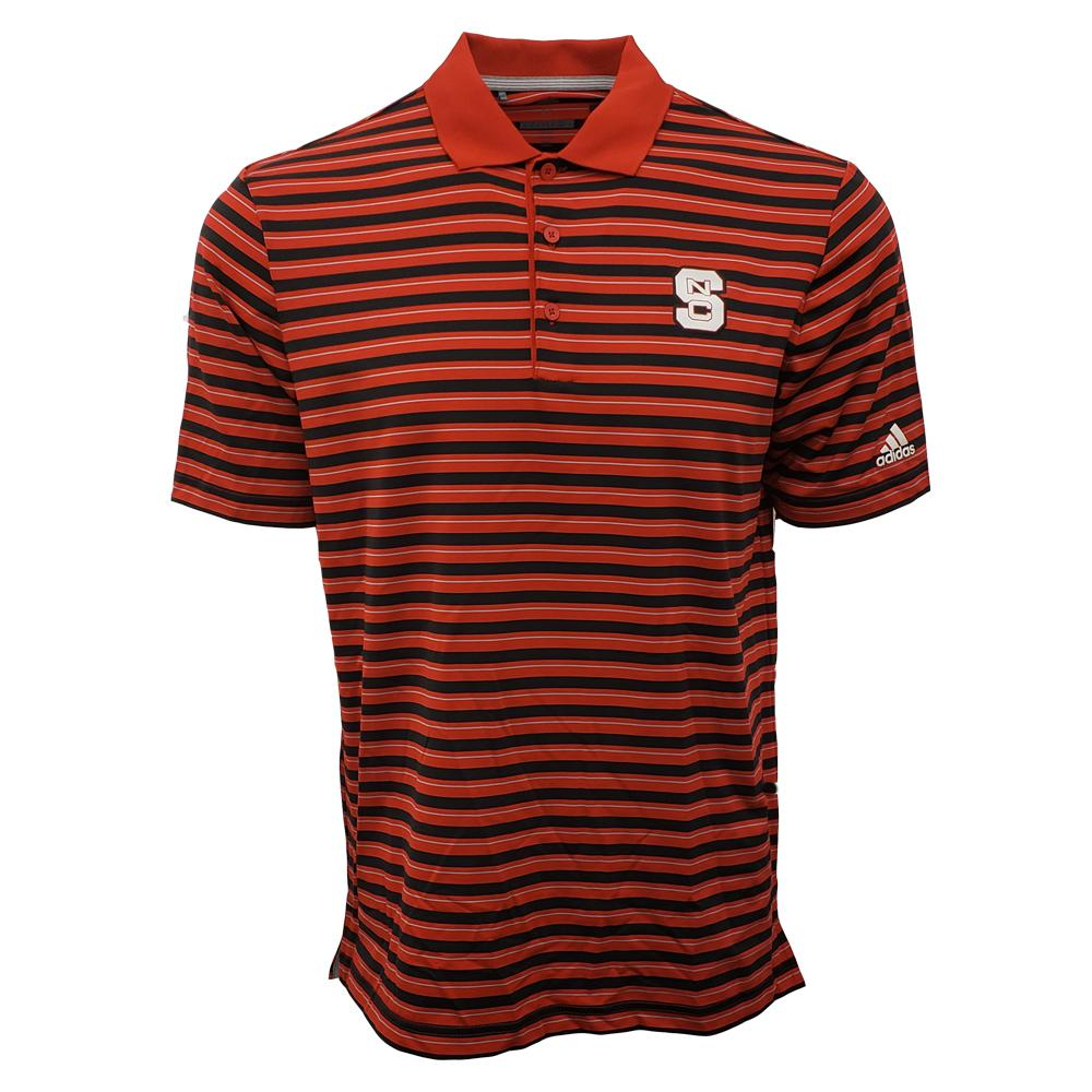 Nc State Adidas Men's Golf Ulitimate 3 Stripe Polo