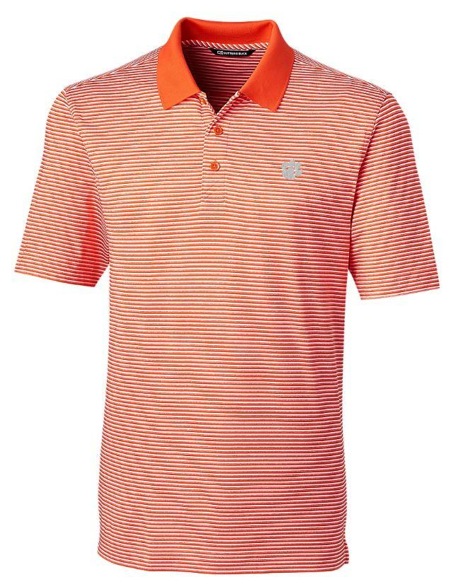 Clemson Cutter & Buck Tonal Stripe Forge Big & Tall Polo