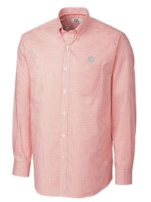 Clemson Cutter And Buck Tattersall Woven Big & Tall Dress Shirt