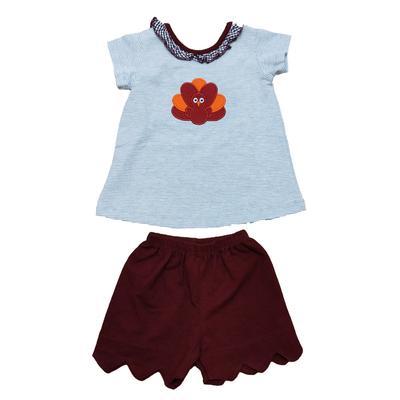 Maroon & Grey Toddler Girl Gobbler Short Set