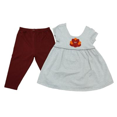 Maroon & Grey Little Girl Gobbler Capri Set