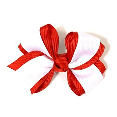 Red & White 2 Tone Fluff Hair Bow