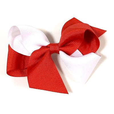 Red & White Classic 2 Tone Fluff Hair Bow