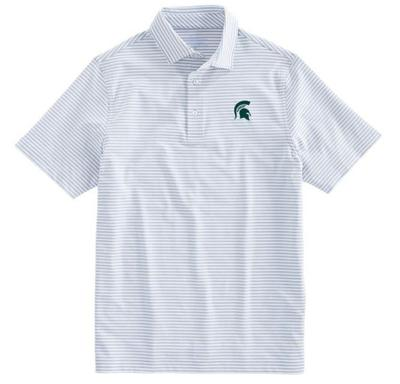 Michigan State Vineyard Vines Winstead Stripe Sankaty Performance Polo