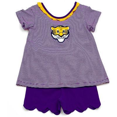 LSU  Ishtex Toddler Girl Short Set