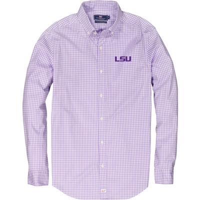 LSU Vineyard Vines Gingham Classic Stretch Murray Shirt