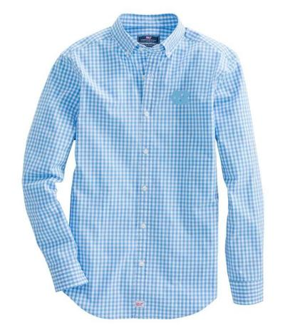 UNC Vineyard Vines Gingham Classic Stretch Murray Shirt