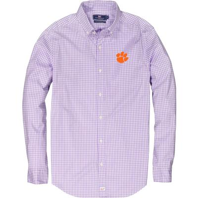 Clemson Vineyard Vines Gingham Classic Stretch Murray Shirt