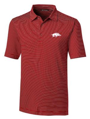 Arkansas Cutter & Buck Forge Pencil Stripe Vault Polo