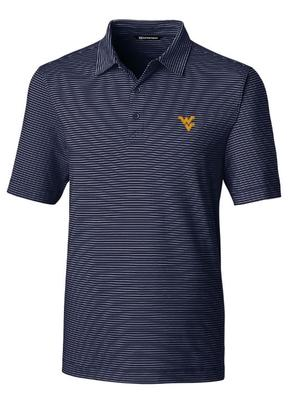 West Virginia Cutter & Buck Forge Pencil Stripe Vault Polo