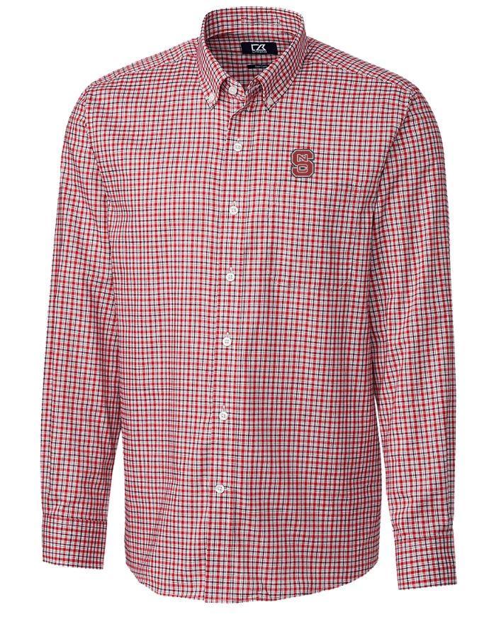 Nc State Cutter And Buck Lakewood Check Dress Shirt