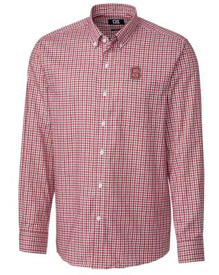 NC State Cutter And Buck Lakewood Check Dress Shirt