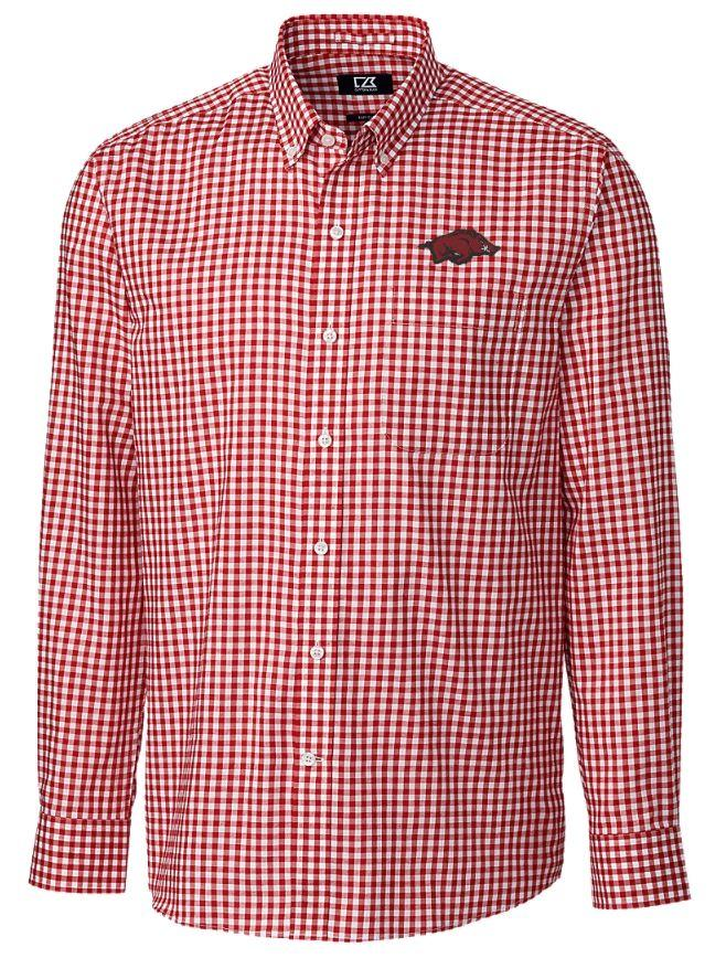 Arkansas Cutter & Buck League Gingham Woven Dress Shirt