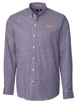 LSU Cutter & Buck League Gingham Woven Dress Shirt