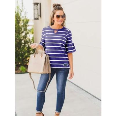 Florida Gameday Couture Go With The Flow Striped Keyhole Ruffle Sleeve Top