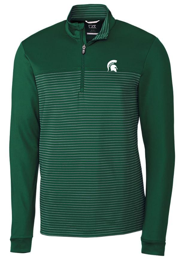 Michigan State Cutter & Buck Traverse Stripe Half Zip Pullover
