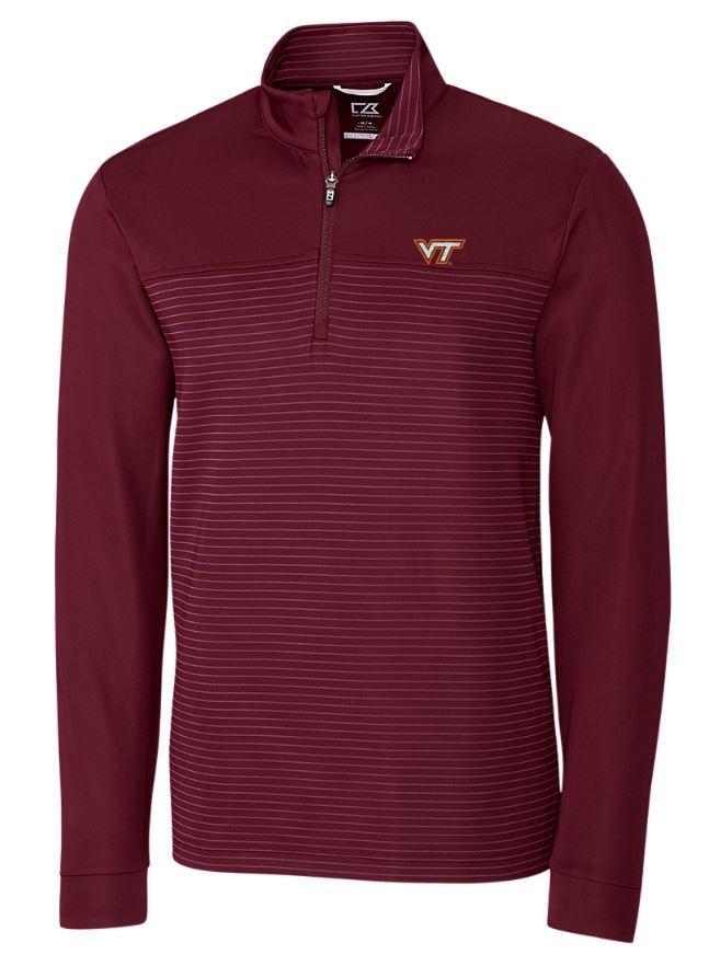 Virginia Tech Cutter & Buck Traverse Stripe Half Zip Pullover