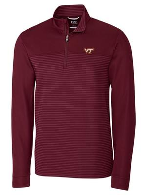Virginia Tech Cutter & Buck Traverse Stripe Half Zip Pullover