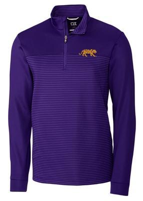 LSU Cutter & Buck Traverse Stripe Half Zip Pullover