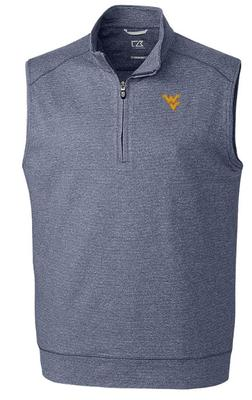 West Virginia Cutter & Buck Shoreline Half Zip Vest
