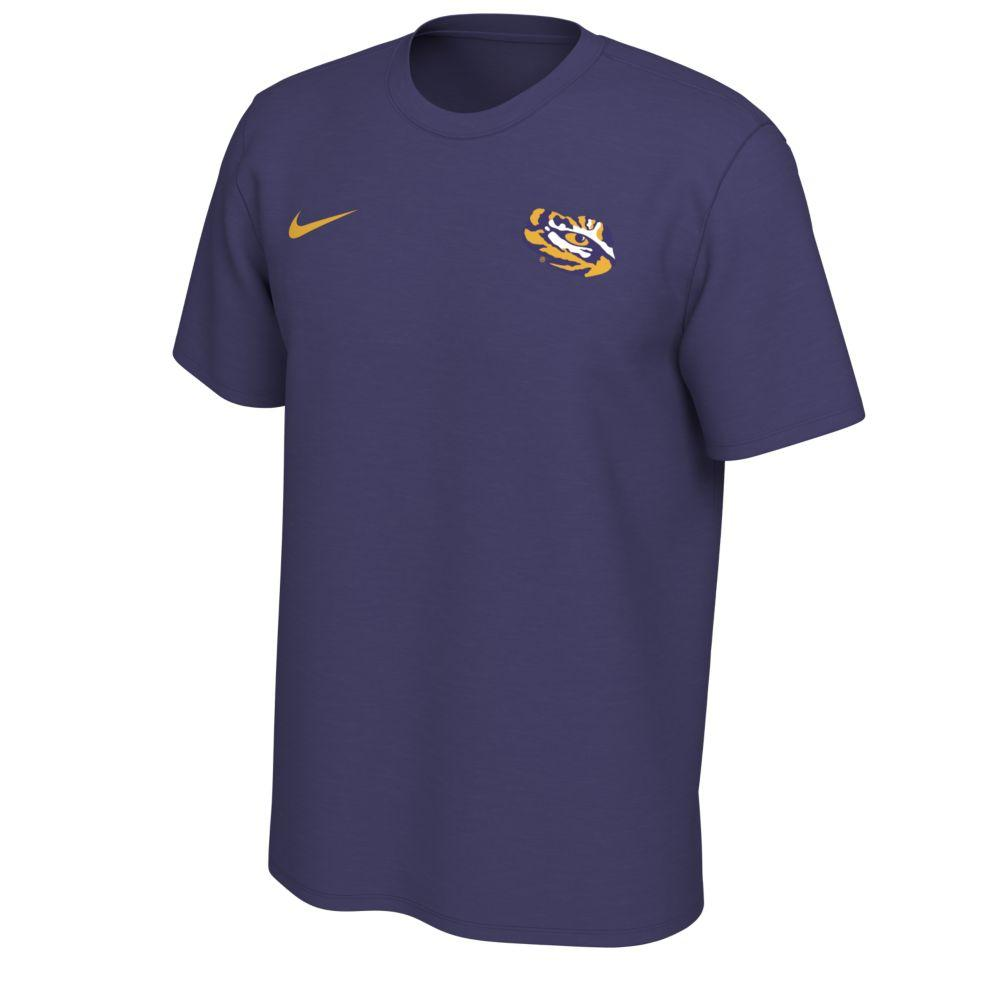 Lsu Nike Short Sleeve Dri- Fit Logo Tee