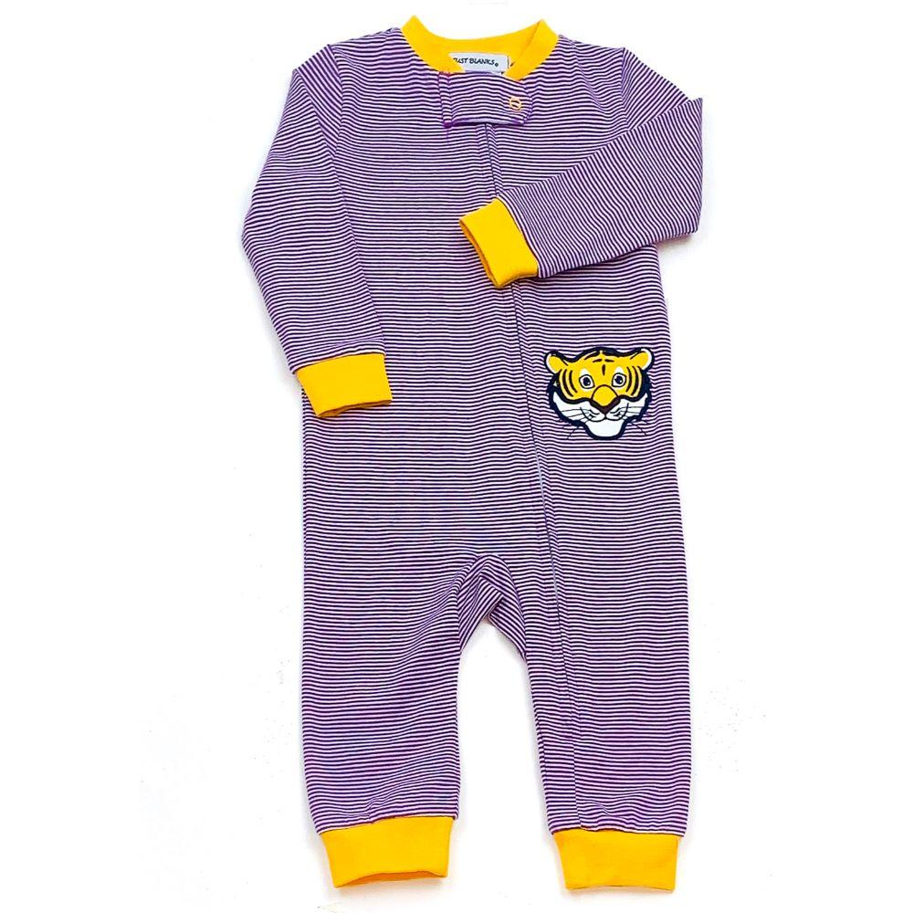 Lsu Ishtex Infant Striped Zip Pajama