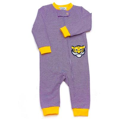 LSU Ishtex Infant Striped Zip Pajama