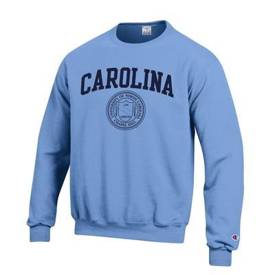 North Carolina Champion College Seal Fleece Crew LT_BLUE