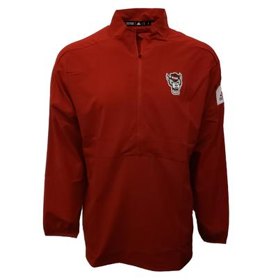 NC State Adidas Men's Game Mode Long Sleeve Woven 1/4 Zip RED