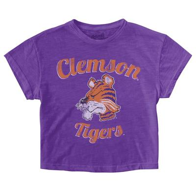 Clemson Retro Brand Youth Crop Tee