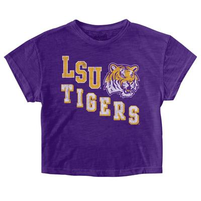 LSU Retro Brand Youth Crop Tee