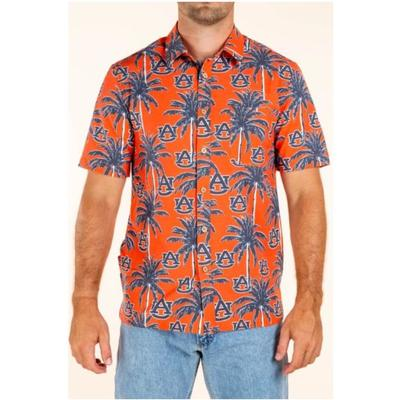 Auburn Tellum and Chop Men's Palm Print Hawaiian Shirt