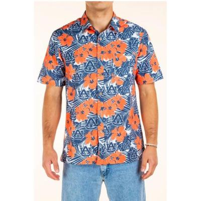 Auburn Tellum and Chop Men's Floral Printed Hawaiian Shirt