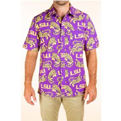 LSU Tellum and Chop Men's Tiger Printed Hawaiian Shirt