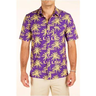 LSU Tellum and Chop Men's Palm Printed Hawaiian Shirt
