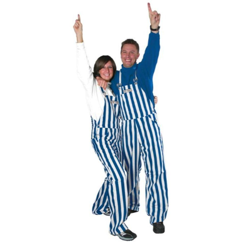 Royal And White Adult Game Bibs Striped Overalls