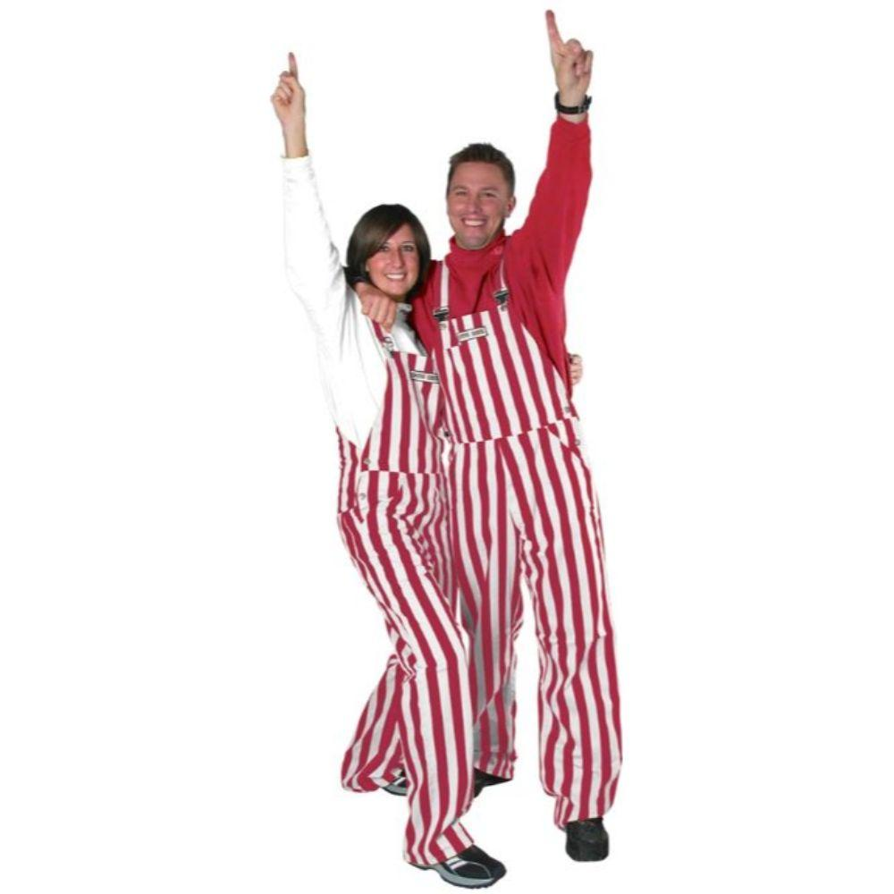 Cardinal And White Adult Game Bibs Striped Overalls