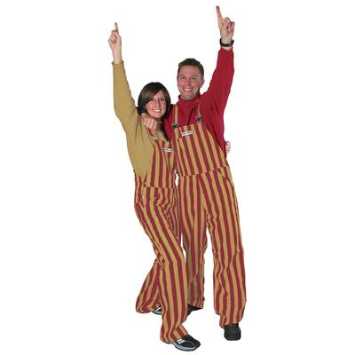 Garnet and Gold Adult Game Bibs Striped Overalls