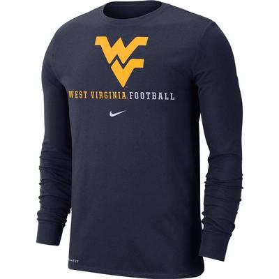 West Virginia Nike Dri-FIT Cotton Long Sleeve T-Shirt